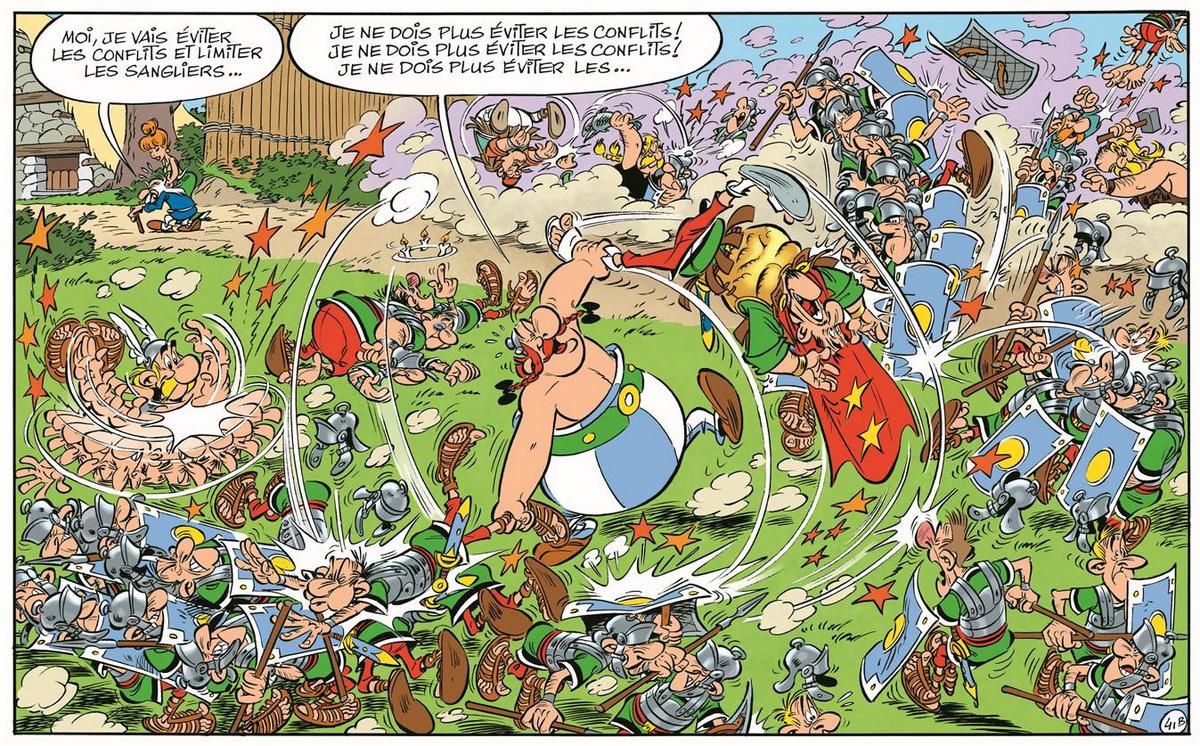 Astérix - Le papyrus de César - Ferri et Conrad - bagarre