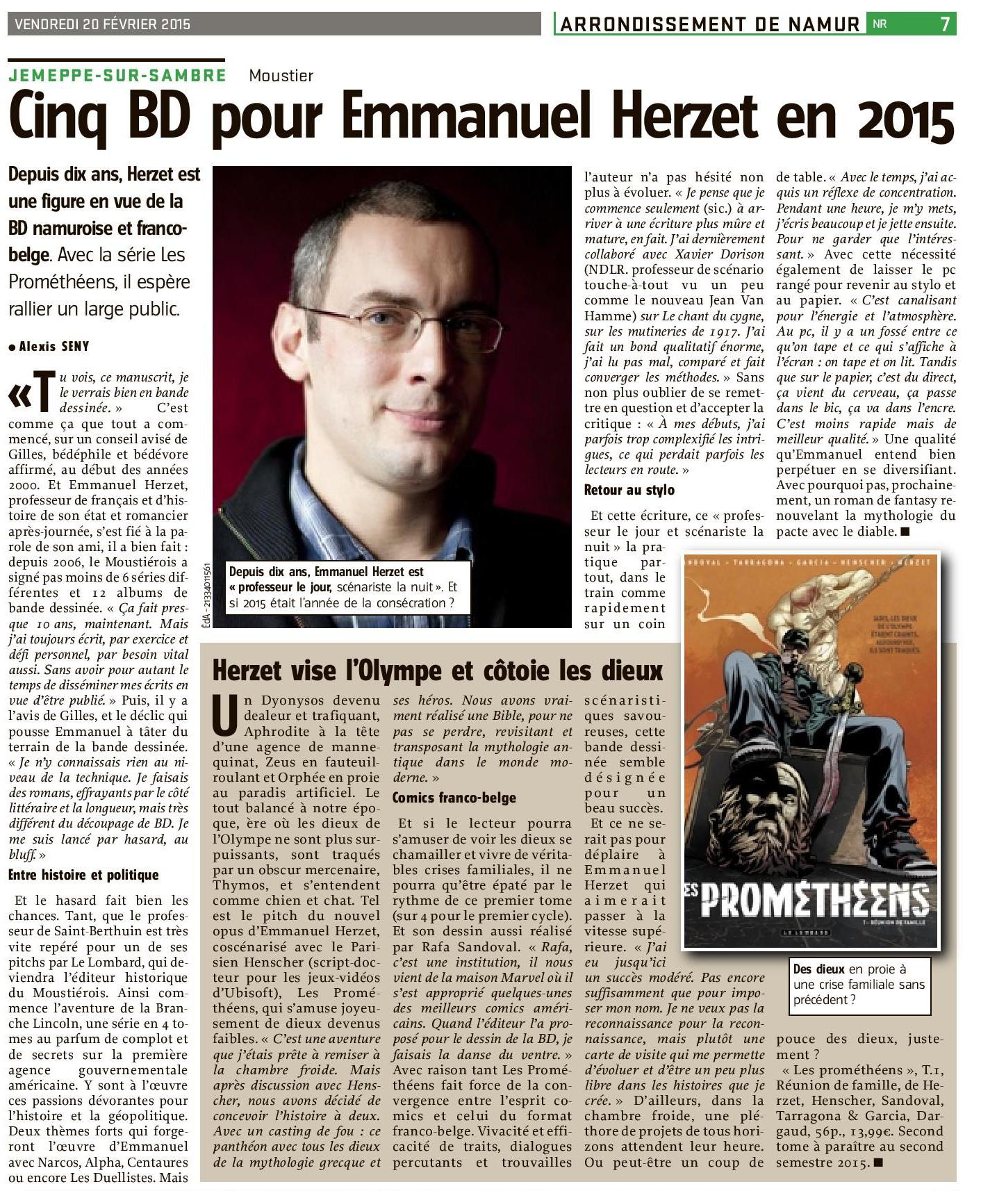 Emmanuel Herzet - Les Prométhéens - Article L'Avenir