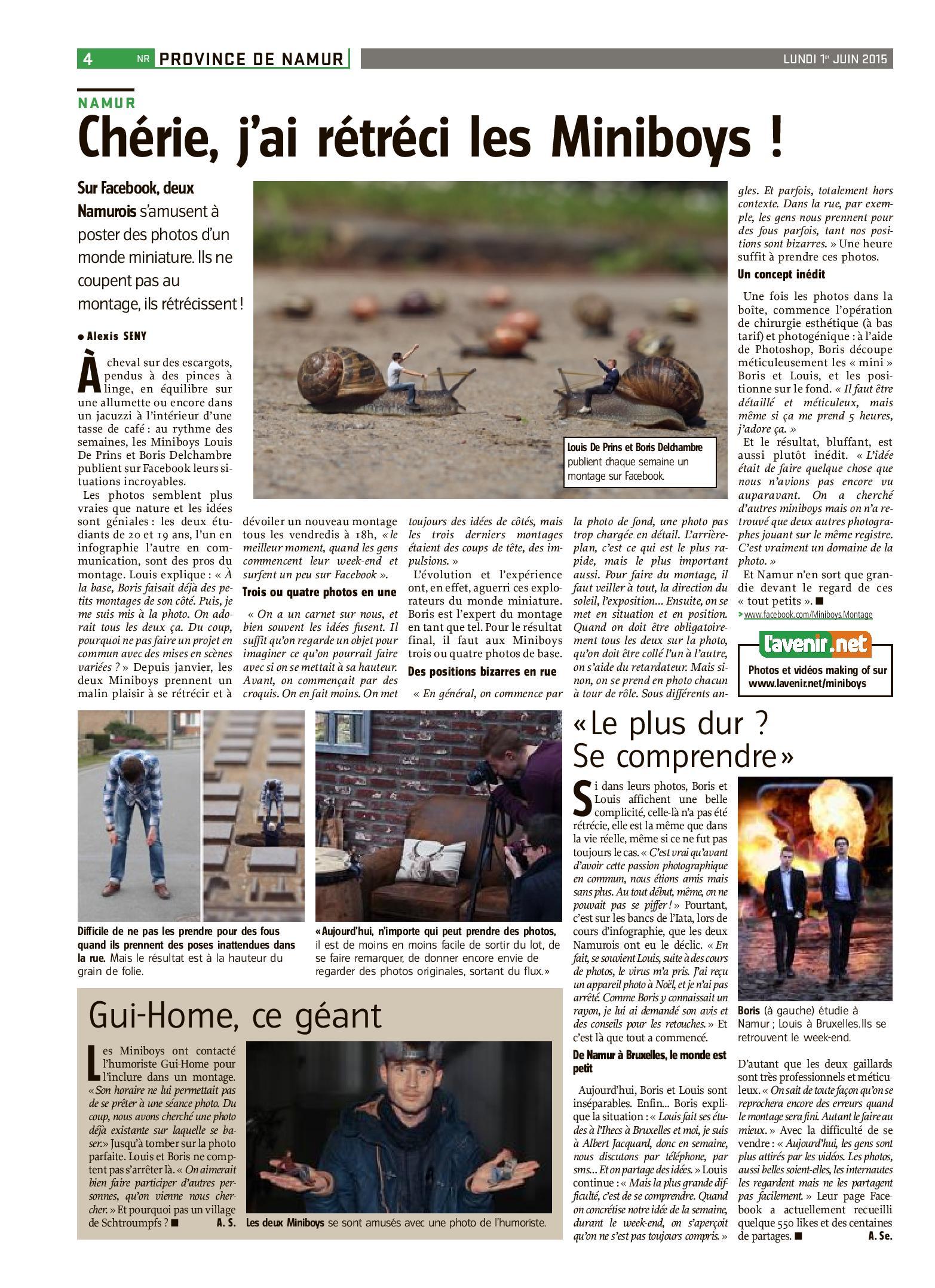 Les miniboys - Article L'Avenir