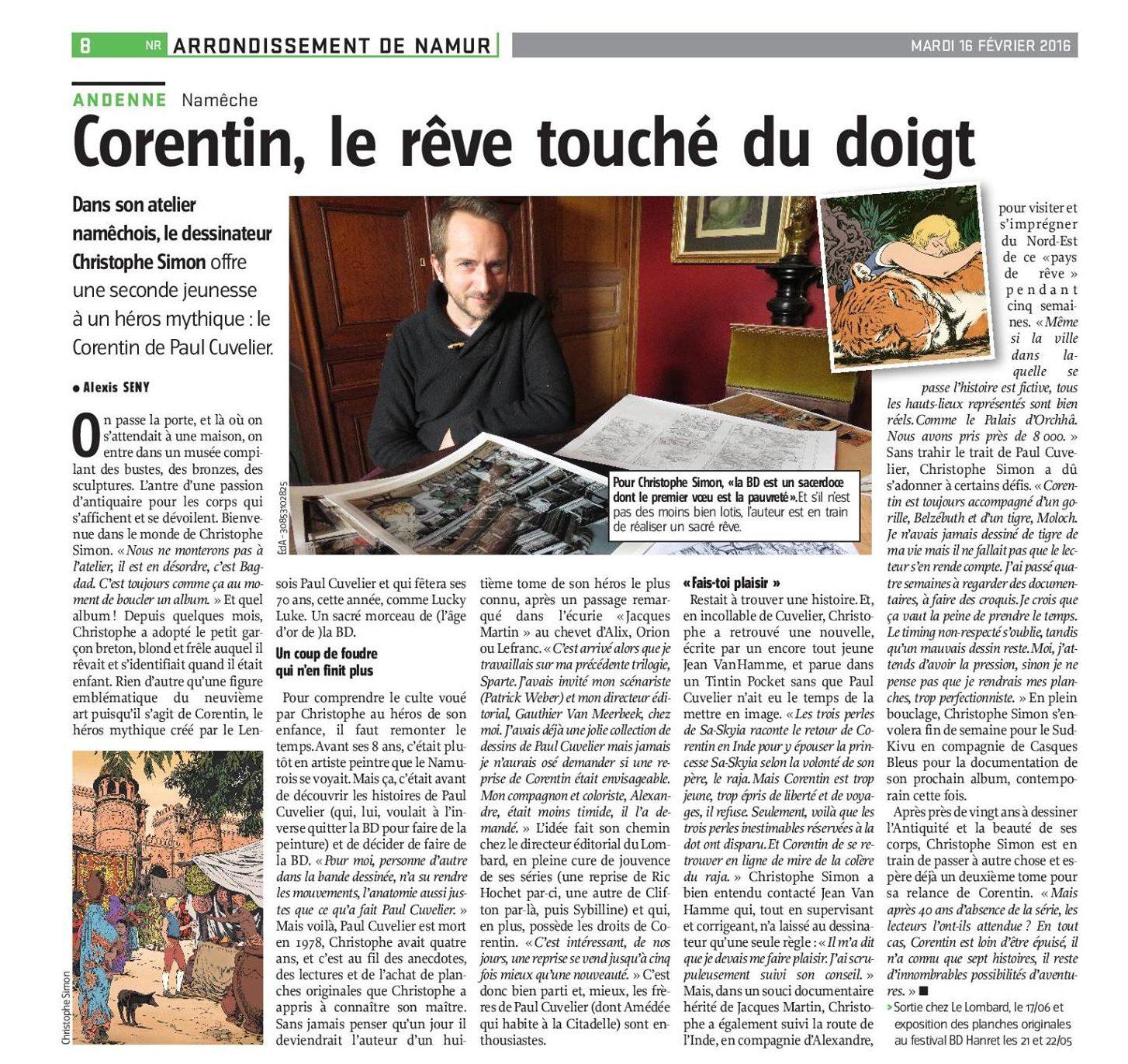Corentin - Les trois perles de Sa-Sky - Cuvelier Van Hamme - Simon - Carpentier - Interview