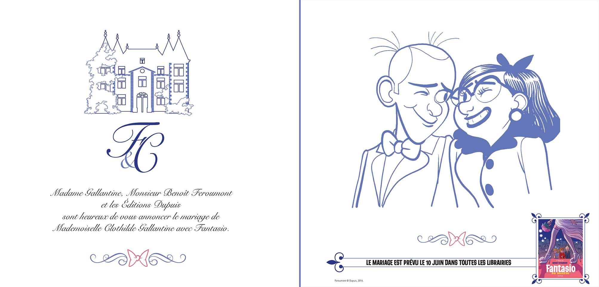 Spirou - Fantasio se marie - Benoit Feroumont - faire-part mariage