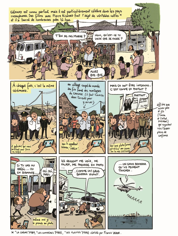 Gérard – Cinq années dans les pattes de Depardieu – Mathieu Sapin – Dargaud  – rendez-vous – selfie