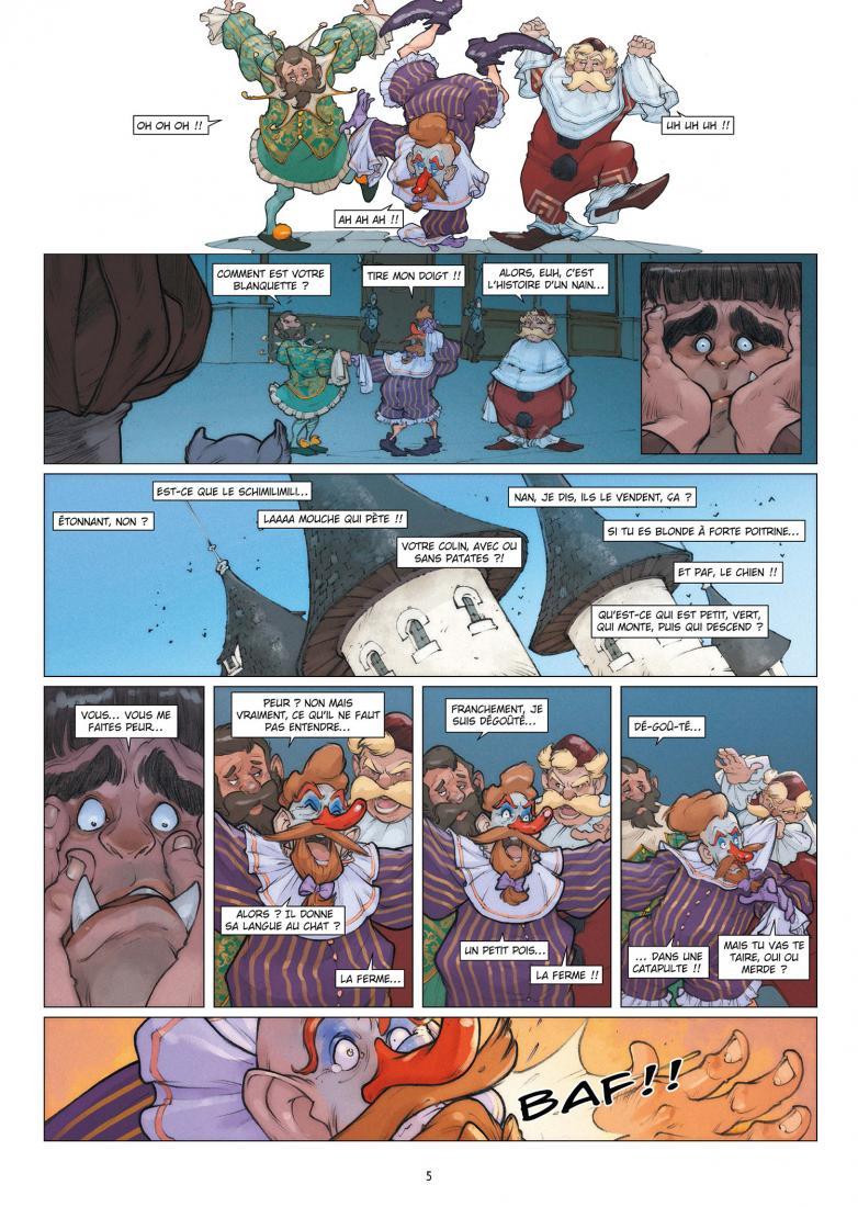 Robilar ou le maistre chat – david chauvel – sylvain guinebaud – lou – chat  botté – aventure – anthropomorphe – conte revisité – ogre – fantasy –  humour – tome 2 – un ogre à marier – p.3 – Branchés Culture